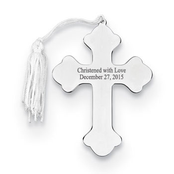 Silver Cross Personalized Christmas Ornament - Nickel-Plated - Engravable on front and back - BEST SELLER