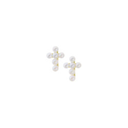 Girls Tiny Pearl Cross Earrings - Freshwater Cultured Pearl - 14K Yellow Gold - Screw Back Earrings for Baby Girls (2mm pearls) - BEST SELLER/