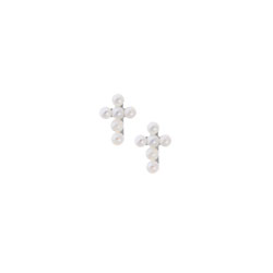 Girls Tiny Pearl Cross Earrings - Freshwater Cultured Pearl - Sterling Silver Rhodium - Screw Back Earrings for Baby Girls (2mm pearls) - BEST SELLER/