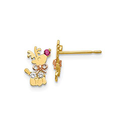 Rudolph The Red-Nosed Reindeer Earrings for Girls - Red and White Cubic Zirconia (CZ) - 14K Yellow and Rose Gold - Push-Back Posts with Silicone Earring Backs - BEST SELLER/