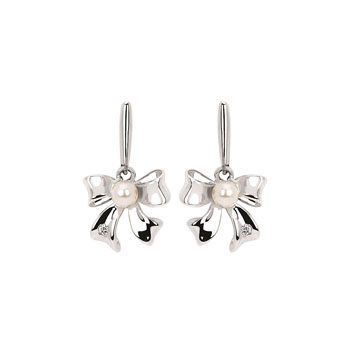 Stunning Diamond and Pearl Bow Earrings for Girls - Genuine Diamond and Freshwater Cultured Pearl - Sterling Silver Rhodium - Push-back posts - BEST SELLER
