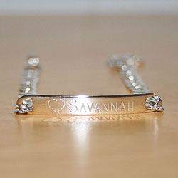 Savannah - Girl's Beautiful Personalized Sterling Silver ID Bracelet - Engravable on the front and back - Size 6