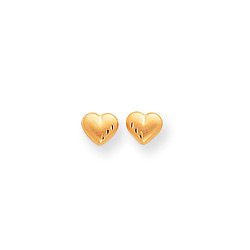 Bella's Heart - Tiny 14K Yellow Gold Satin Diamond-Cut Heart Girls Earrings - Push-Back Posts/