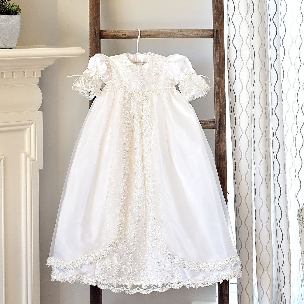 Charlotte Avery - Handmade Heirloom Dupioni Silk Pearl Sequin Christening Gown with Matching Christening Bonnet Set - Size S (6 - 9 months) - BEST SELLING Baptism Dress