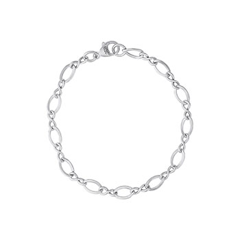 My Favorite Charm Bracelet™ – Rembrandt Sterling silver figure eight link charm bracelet – Personalize with birthstones & charms - Size 7 - BEST SELLER