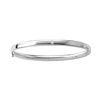 "Fine Toddler Bracelets - 14K White Gold Baby, Toddler Bangle Bracelet with One Genuine Diamond - Size 5.25"" - BEST SELLER"