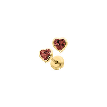 Heart January Birthstone 14K Yellow Gold CZ Screw Back Earrings for Babies & Toddlers - Heart CZ Garnet Birthstone - Safety threaded screw back post - BEST SELLER