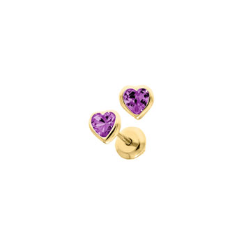 Heart February Birthstone 14K Yellow Gold CZ Screw Back Earrings for Babies & Toddlers - Heart CZ Amethyst Birthstone - Safety threaded screw back post - BEST SELLER
