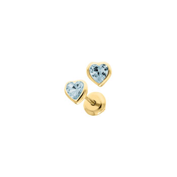 Heart March Birthstone 14K Yellow Gold CZ Screw Back Earrings for Babies & Toddlers - Heart CZ Aquamarine Birthstone - Safety threaded screw back post - BEST SELLER