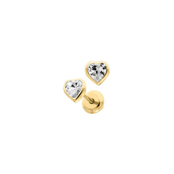 Heart April Birthstone 14K Yellow Gold CZ Screw Back Earrings for Babies & Toddlers - Heart CZ White Topaz Birthstone - Safety threaded screw back post - BEST SELLER