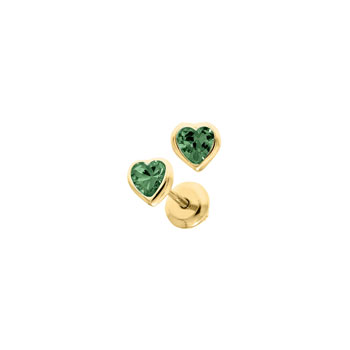Heart May Birthstone 14K Yellow Gold CZ Screw Back Earrings for Babies & Toddlers - Heart CZ Emerald Birthstone - Safety threaded screw back post - BEST SELLER