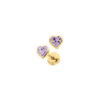Heart June Birthstone 14K Yellow Gold CZ Screw Back Earrings for Babies & Toddlers - Heart CZ Rhodolite Birthstone - Safety threaded screw back post - BEST SELLER