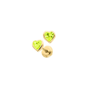 Heart August Birthstone 14K Yellow Gold CZ Screw Back Earrings for Babies & Toddlers - Heart CZ Peridot Birthstone - Safety threaded screw back post - BEST SELLER