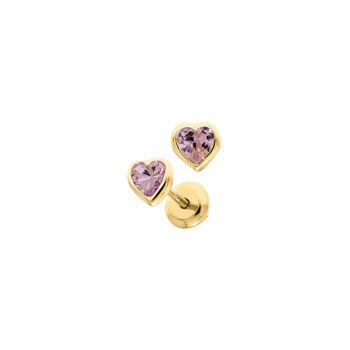 Heart October Birthstone 14K Yellow Gold CZ Screw Back Earrings for Babies & Toddlers - Heart CZ Pink Tourmaline  Birthstone - Safety threaded screw back post - BEST SELLER