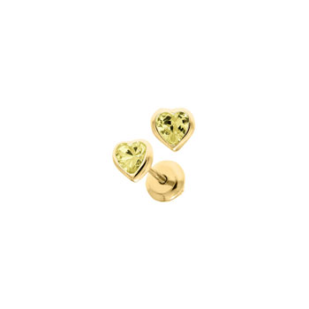 Heart November Birthstone 14K Yellow Gold CZ Screw Back Earrings for Babies & Toddlers - Heart CZ Citrine Birthstone - Safety threaded screw back post - BEST SELLER