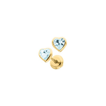 Heart December Birthstone 14K Yellow Gold CZ Screw Back Earrings for Babies & Toddlers - Heart CZ Blue Zircon Birthstone - Safety threaded screw back post - BEST SELLER