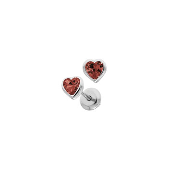 Heart January Birthstone Sterling Silver Rhodium CZ Screw Back Earrings for Babies & Toddlers - Heart CZ Garnet Birthstone - Safety threaded screw back post - BEST SELLER