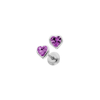 Heart February Birthstone Sterling Silver Rhodium CZ Screw Back Earrings for Babies & Toddlers - Heart CZ Amethyst Birthstone - Safety threaded screw back post - BEST SELLER