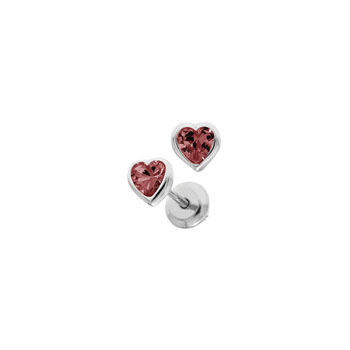 Heart July Birthstone Sterling Silver Rhodium CZ Screw Back Earrings for Babies & Toddlers - Heart CZ Ruby Birthstone - Safety threaded screw back post - BEST SELLER