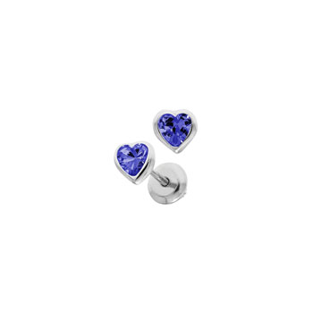 Heart September Birthstone Sterling Silver Rhodium CZ Screw Back Earrings for Babies & Toddlers - Heart CZ Blue Sapphire Birthstone - Safety threaded screw back post - BEST SELLER