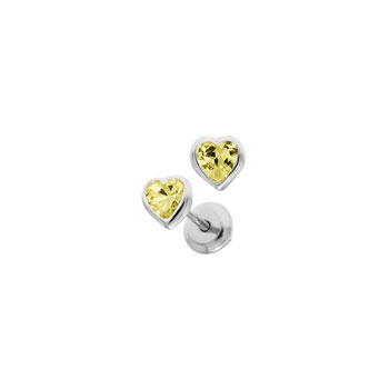 Heart November Birthstone Sterling Silver Rhodium CZ Screw Back Earrings for Babies & Toddlers - Heart CZ Citrine Birthstone - Safety threaded screw back post - BEST SELLER