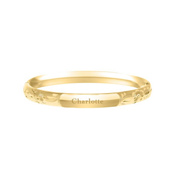 "Christening Classic - Gold Flowers 14K Gold-Filled Baby Bangle Bracelet - Engravable on Front - Size 4.5"" (0 - 6 months) - BEST SELLER"