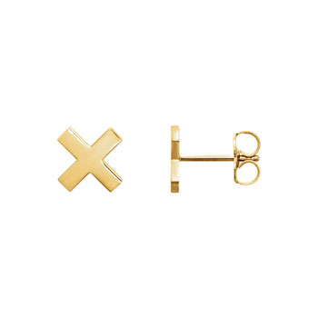 X Earrings for Girls - 14K Yellow Gold - Friction-back posts - BEST SELLER