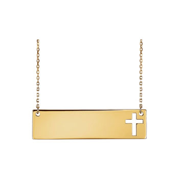 "Gorgeous Engravable Bar Necklace with Cutout Cross - 14K Yellow Gold - 16""-18"" chain included - BEST SELLER"