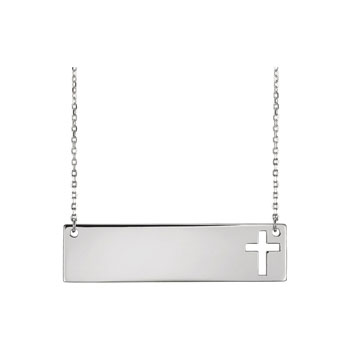 "Gorgeous Engravable Bar Necklace with Cutout Cross - 14K White Gold - 16""-18"" chain included - BEST SELLER"
