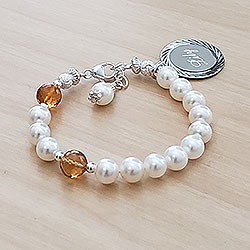 My Our Father Hail Mary™ by My First Rosary® – Grow-With-Me® designer original freshwater cultured pearl rosary bracelet – Personalize with gemstones & charms/