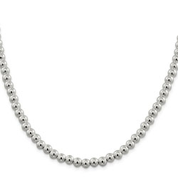 Girls Favorite Sterling Silver Beaded Box Chain Necklace - 6.10mm sterling beads - 18-inch length - BEST SELLER/