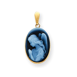 Agate Cameo Praying Angel Pendant in 14K Yellow Gold - Add a chain to create the perfect necklace/