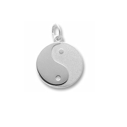 Yin (Female) Yang (Male) - Large Round Sterling Silver Rembrandt Charm - Engravable on back - Add to a bracelet or necklace/