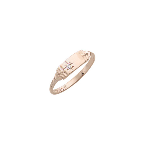 Classic 14K Yellow Gold Children's Diamond Engravable Signet Ring - Size 4