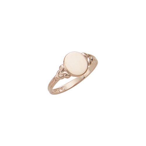 Because I Love You - Oval 14K Yellow Gold Girls Engravable Signet Ring - Size 5 Child Ring - BEST SELLER