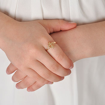 In Faith and Love - 14K Yellow Gold Girls Cross Ring - Size 4 Child Ring - BEST SELLER