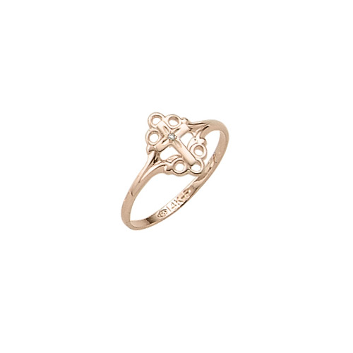 In Faith and Love - 14K Yellow Gold Girls Diamond Cross Ring - Size 4 Child Ring - BEST SELLER