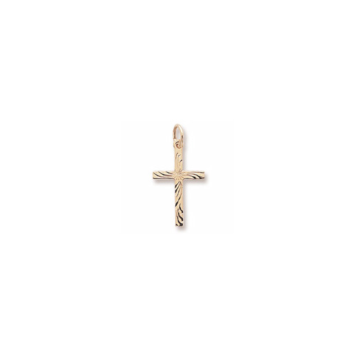 Intricate Christian Cross - Medium Charm/Pendant 10K Yellow Gold - Add to a bracelet or necklace