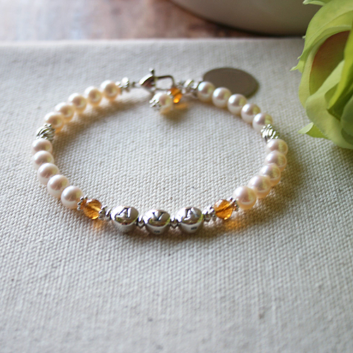 Abby Rose for Mom™ - Grow-With-Us™ Freshwater Cultured Pearl and Sterling Silver Mother's, Grandmother's, Generations Bracelet - Add up to Three Names and Birthstone Pairs to Personalize - BEST SELLER
