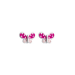 My Favorite Pink Butterfly Enameled Girls Earrings - Sterling Silver Rhodium - Push-Back Posts - BEST SELLER/