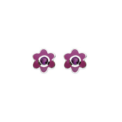 February Birthstone - Genuine Amethyst Adorable Flower Girls Earrings - Sterling Silver Rhodium/