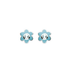 March Birthstone - Genuine Blue Topaz Adorable Flower Girls Earrings - Sterling Silver Rhodium/