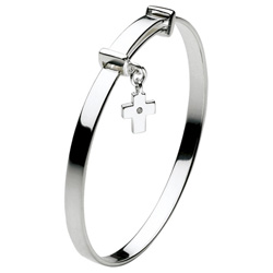 Beautiful Sterling Silver Rhodium Diamond Cross First Communion Bangle Bracelet for Girls - Size 5.25