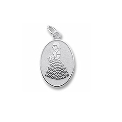 Rembrandt Sterling Silver Bridesmaid and Flower Girl Charm – Engravable on back - Add to a bracelet or necklace - BEST SELLER/