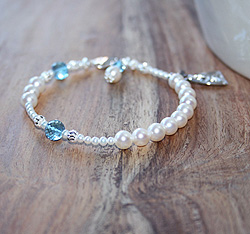 In His Name by My First Rosary® – Grow-With-Me® designer original freshwater cultured pearl rosary bracelet – Personalize with gemstones & charms/