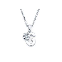 Adorable Small Letter G Pendant - Diamond Girls Initial Necklace - Sterling Silver Rhodium Chain and Pendant /