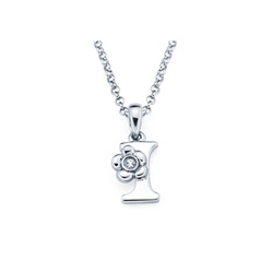 Adorable Small Letter I Pendant - Diamond Girls Initial Necklace - Sterling Silver Rhodium Chain and Pendant /