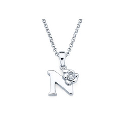 Adorable Small Letter N Pendant - Diamond Girls Initial Necklace - Sterling Silver Rhodium Chain and Pendant /