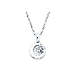 Adorable Small Letter O Pendant - Diamond Girls Initial Necklace - Sterling Silver Rhodium Chain and Pendant - BEST SELLER/