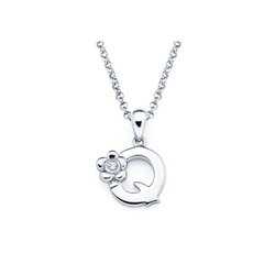Adorable Small Letter Q Pendant - Diamond Girls Initial Necklace - Sterling Silver Rhodium Chain and Pendant /